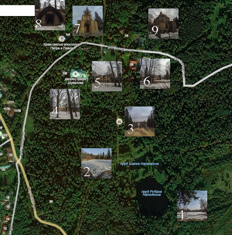 Map and Sights of Shuvalovsky Park